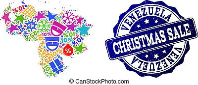 Christmas Sale Composition of Mosaic Map of Venezuela and Textured Stamp