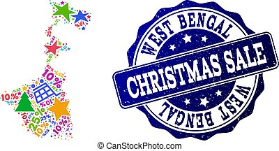 Christmas Sale Composition of Mosaic Map of West Bengal State and Textured Stamp