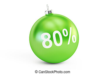 Christmas Sale concept, 80% 3D rendering