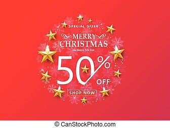 Christmas sale concept on bright red background. Snowflakes in the round frame