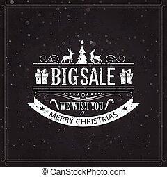 Christmas sale design set - labels, emblems on black board