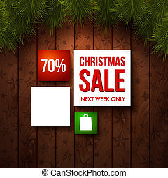 Christmas sale design template. Wooden background, realistic fir. Use it for Your winter holidays design. Vector illustration.