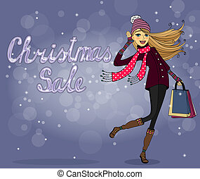 Christmas sale - Girl with shopping bags at christmas sale ...
