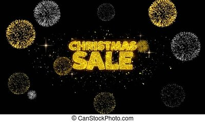 Christmas Sale Golden Text Blinking Particles with Golden...
