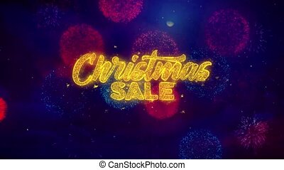 Christmas Sale Greeting Text Sparkle Particles on Colored...