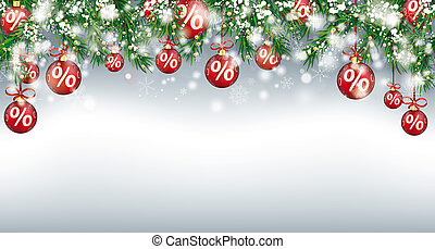 Christmas Sale Header Twigs Red Percent Baubles Snow -...