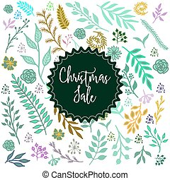 Christmas sale label on winter background