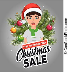 christmas sale label with man character