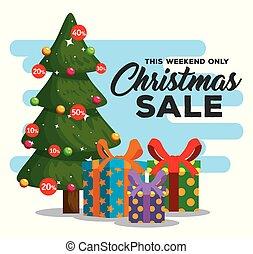 christmas sale label with pine tree