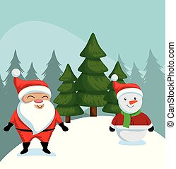 christmas sale label with santa claus character