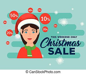 christmas sale label with woman character