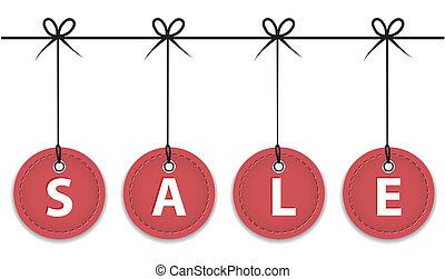 Christmas red sale labels hanging like Christmas balls. Vector illustration