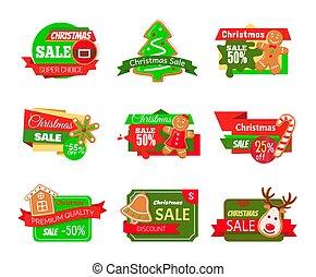 Christmas Sale Labels Pine Tree Gingerbread Cookie