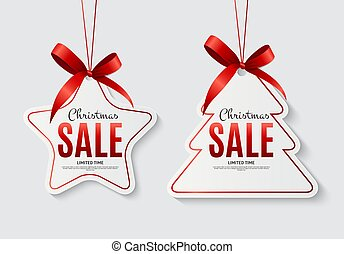 Christmas Sale Labels with Bow. Vector Illustration