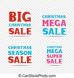 Christmas sale message set - Christmas red pink and blue big...
