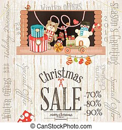 Christmas Sale Poster. Storefront with Toys and Gift Boxes ...
