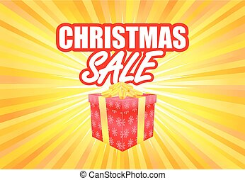 Christmas sale poster template with gift box on yellow light