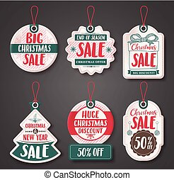 Christmas sale price tags vector set with different discount text