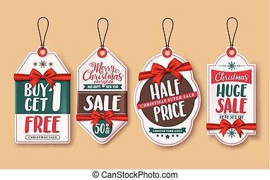 Christmas sale price tags vector set with red ribbons and discount promotions