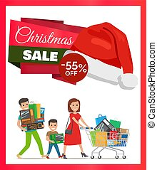 Christmas Sale Promo Poster Vector Illustration