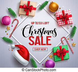 Christmas sale promotional banner with gifts and colorful christmas elements