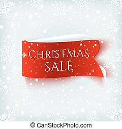 Christmas Sale, red realistic paper banner on winter background.