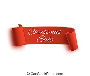 Christmas Sale, red realistic paper ribbon.