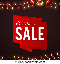 Christmas Sale shine banner design with garland