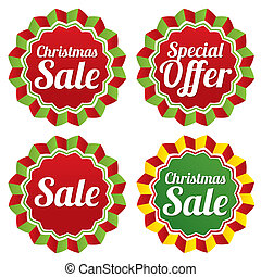 Christmas sale, special offer labels set.