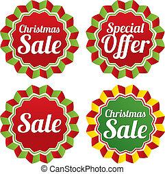 Christmas sale, special offer labels set. Vector.
