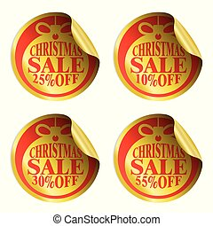 Christmas sale stickers with christmas ball 10,25,30,55 percent