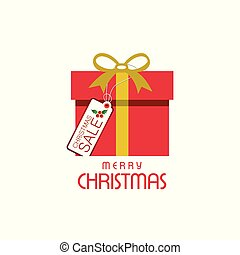Christmas sale tag with gift box