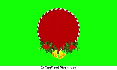Christmas knitted sale tag. Frame with bell, holly berry branch. Scandinavian style decoration. Red knitted fabric label for New Year discount or gift. 2D flat animation on green chromakey background.