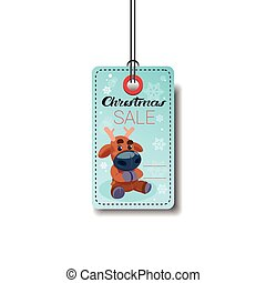 Christmas Sale Tag With Reindeer Isolated On White Background