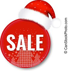 Christmas Sale Tag With Santa Claus Cap