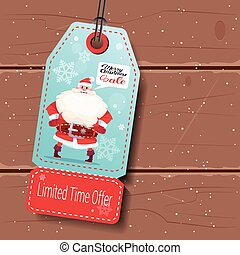 Christmas Sale Tag With Santa On Wooden Background