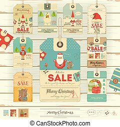 Christmas Sale Tags - Merry Christmas and New Year Sale Tags...