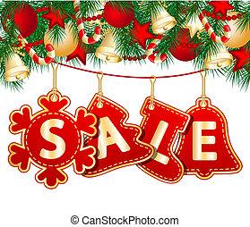 Christmas Sale Tags on christmas signs. Vector illustration