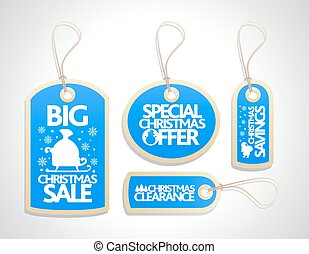Christmas Sale Tags Set ,blue