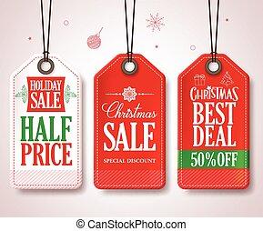 Christmas Sale Tags Set Christmas