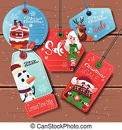 Christmas Sale Tags Set Of Colorful Special Offer Stickers Collection On White Background