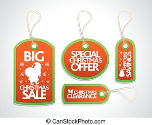 Christmas Sale Tags Set ,red