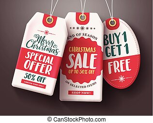 Christmas sale tags vector set hanging with sale and discount text