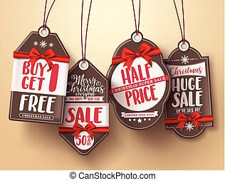 Christmas sale tags vector set with red ribbon and different greeting