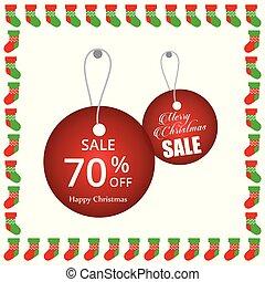 Christmas sale tags with frame