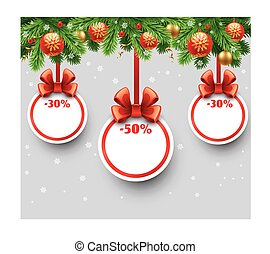 Christmas sale tags with golden ribbon and satin bow.