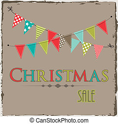 Christmas sale template with bunting or banner
