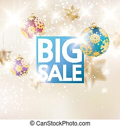 Christmas sale template with gold stars.