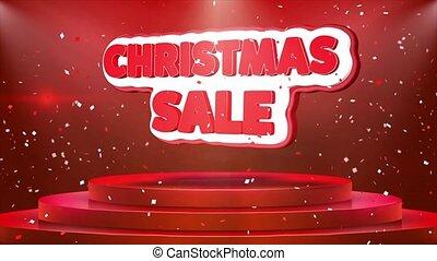 Christmas Sale Text Animation Stage Podium Confetti Loop Animation