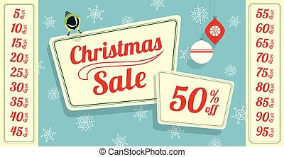 christmas sale tit bird - Retro styled Christmas sale tag. A...